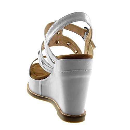 Angkorly Piattaforma Mules 5 Materiale bi Tacco Cinturino Moda Tanga Zeppe Lucide con Scarpe Donna cm Bianco 10 Caviglia Sandali alla Borchiati Zeppa rtTrw