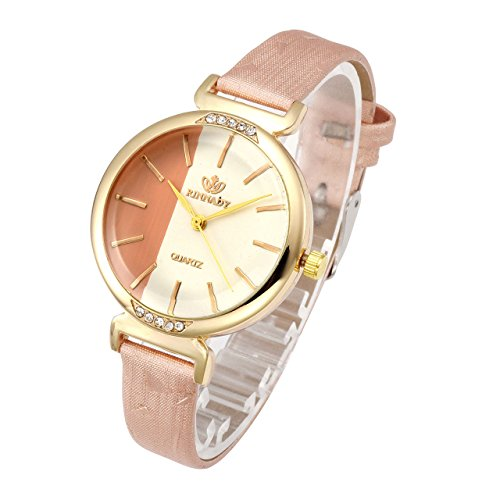 Top Plaza Womens Ladies Thin Band Leather Wrist Watch Fashion Unique Gold Case Colorful Analog Quartz Dress Watch - Rose Gold ()