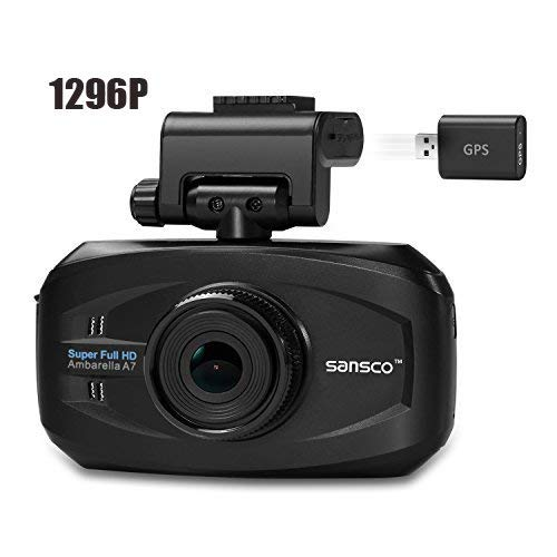 SANSCO Upgraded Ultra HD 1296p 2K Car Dash Cam with GPS Tracking, 50% Higher Resolution Than 1080p - Dashboard Camera for car with Excellent Night Vision, Automatic Emergency Recording, Various Alerts