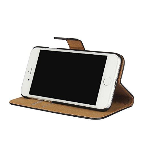 Trumpshop Smartphone Carcasa Funda Protección para Apple iPhone 7 (4.7-Pulgada) + Violeta + Ultra Delgada Cuero Genuino Caja Protector con Función de Soporte Choque Absorción Negro