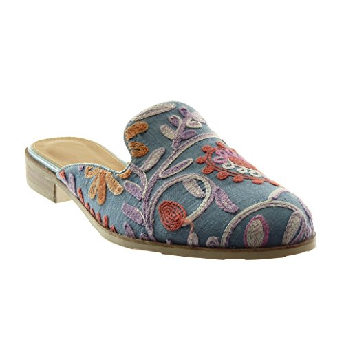 Angkorly Women's Fashion Shoes Oriental Slippers Mules - Slip-on - Open-Back - Flowers - Embroidered - Fantasy Block Heel 2.5 cm Light Blue