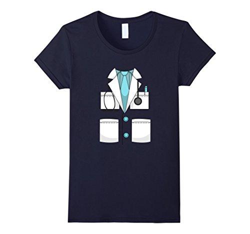 Navy Pilot Uniform Costume (Womens Doctor Costume Uniform T-Shirt | Halloween Surgeon Shirt Large Navy)