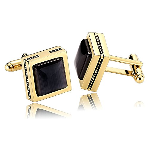 Black Lapis Cufflinks - MoAndy Stainless Steel Cuff Links for Mens Simple Square Stone forma Gold Black