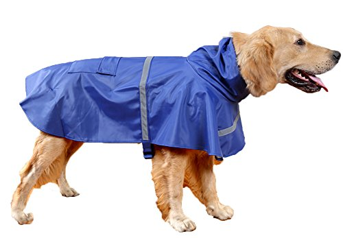 OHF Pet Slicker Raincoat Poncho with Hood Dog Reflective Waterproof Jacket Coat ,Blue Extra Large (Raincoats With Hoods For Dogs compare prices)