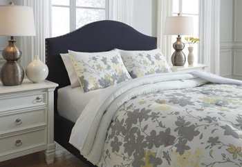 Ashley Furniture Queen Bedding - Ashley 3-Pc Floral Comforter Set in Gray and Yellow (Queen: 92 in. L x 96 in. W)