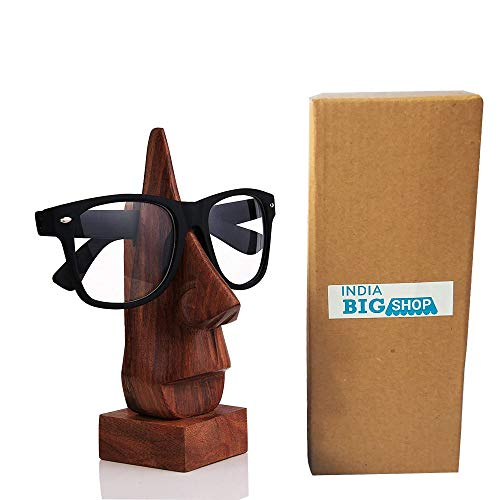IndiaBigShop Wooden Hand Carved Classic Sheesham Wood Nose-shaped Eyeglass Spectacle Holder Perfect for Home and Office Decor 6 ()