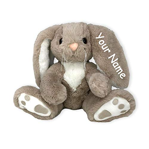 Bearington Collection Personalized Boomer Brown and White Sitting Easter Bunny Plush Stuffed Animal Toy with Custom Name - 10 Inches