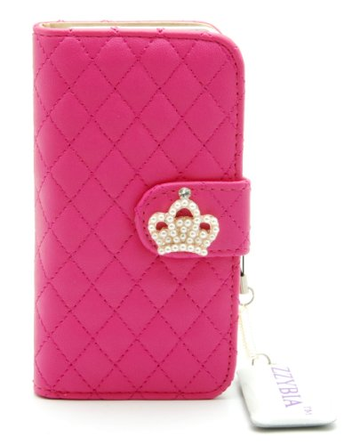 ZZYBIA® IP5 QC Leatherette Stand Case Card Holder Wallet with Screen Cleaning Pad for Apple Iphone 5 5s (Shocking Pink)