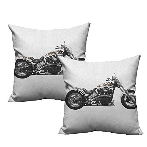(RuppertTextile Breathable Pillowcase Manly Motorbike Hipster Style Dangerous Risky Ride Driving Vehicle Throttle Chopper Cushion W16 xL16 2 pcs)