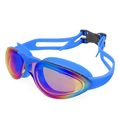 YFX Create Swim Goggles, Swimming Goggles No Leaking Anti Fog UV Protection Triathlon Swim Goggles with Free Protection Case for Adult Men Women and Youth (Blue) by YFX Create