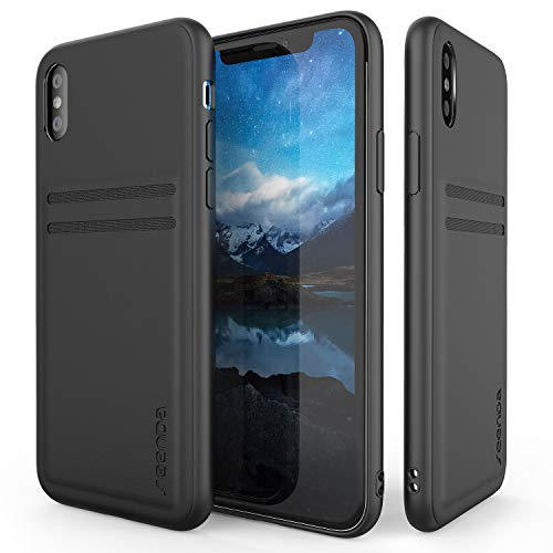 Wallet Case Compatible iPhone Xs Max - seenda Protective Genuine Leather Case with 2 Card Slot Holder Compatible for iPhone Xs Max 6.5 inch 2018 - Black