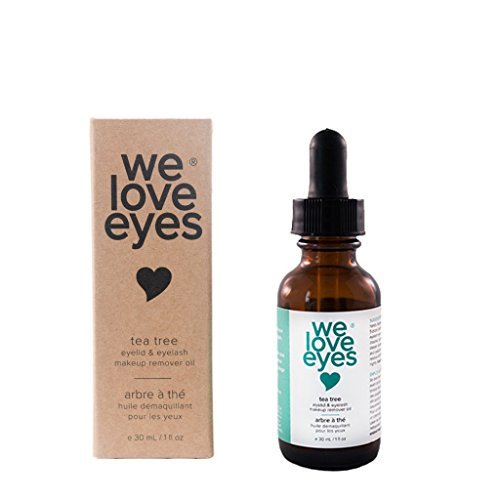 All Natural Tea Tree Eye Makeup Remover Oil - We Love Eyes - Waterproof Mascara and Makeup Remover with Moisturizer, Chemical and Alcohol Free - 30ml