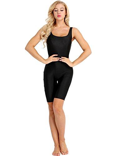 ACSUSS Women Sleeveless Solid Lycra Tank Bermuda Shorts Yoga Bodysuit Jumpsuit Black X-Large