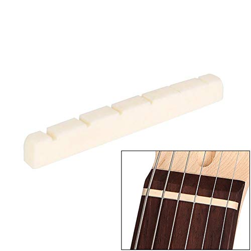 (1Pc Bone Nut for 6 Strings Electric Guitar, Cheng-store 42mm/1.65in Six String Nut Cattle Bone Slotted for Fender Strat Replacement )