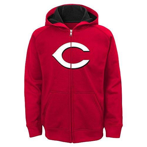 MLB Cincinnati Reds Youth Boys 8-20 Team Logo Full Zip Hood-L (14-16), Athletic Red (Mlb Red Sweatshirt)