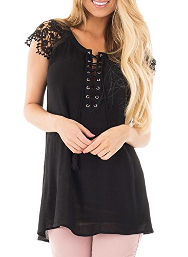 Tunic Black Lace Up Achicgirl Top Women's Sleeves qvwIw46W7
