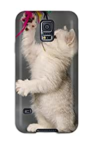 CATHERINE DOYLE's Shop Best 4454403K65873221 High Quality Kitten And Dangling Feathers Skin Case Cover Specially Designed For Galaxy - S5