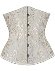 Hengzhifeng Underbust Corset Tops for Women Gothic Embroidery Lace Up Boned Bustiers Plus Size
