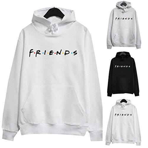 fannay Women Casual Hooded Neck Long Sleeve Letter Print Front Pocket Hoodies Fashion Hoodies White