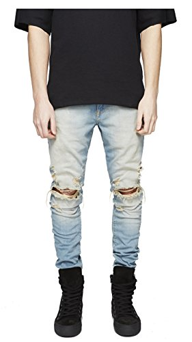 LONGBIDA Men's Ripped Slim Fit Skinny Destroyed Distressed Tapered Leg Jeans,Blue - Yellow,36