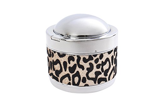 (Nomadic Trader Quantum Abacus Round Windproof Ashtray Made of zinc Alloy, with Decorative Animal Print and lid, Mod. 820-02 (US))