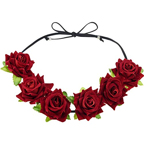 Lystaii Rose Headband Red Rose Flower Crown Woodland Hair Wreath for Valentines's Day Halloween Festival Cosplay