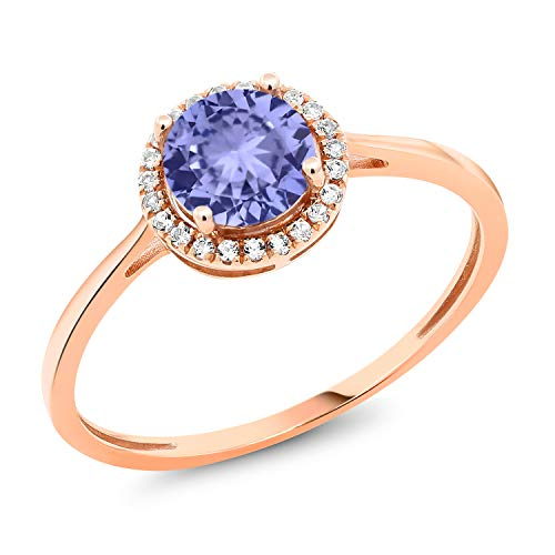 Gem Stone King 10K Rose Gold Diamond Engagement Ring Round Blue Tanzanite 1.12 cttw (Size - Diamond Tanzanite Ring Round