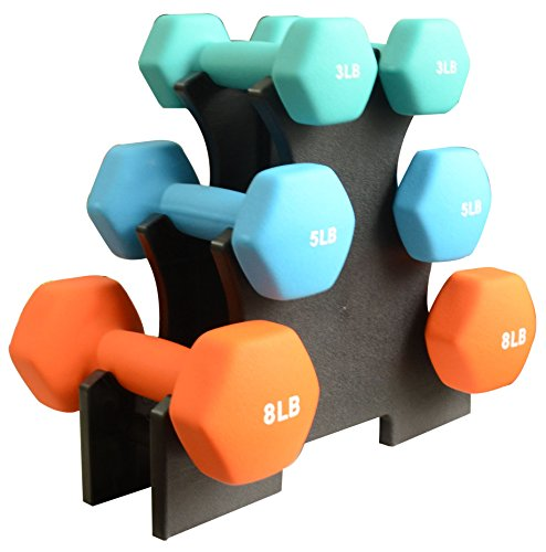BalanceFrom BF-D358 Dumbbell Set with Stand, 32 - Set Weighted Barbell