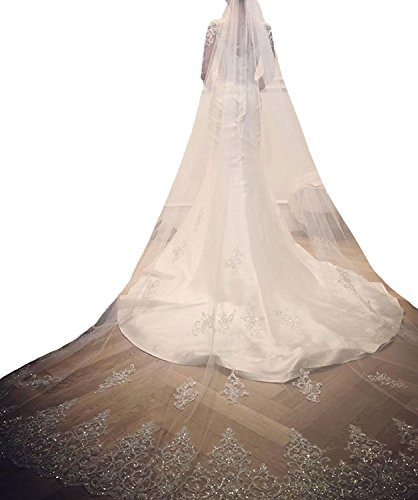 Ivory Cathedral Bridal Wedding Veil (Kelaixiang Wedding Veils with Shinning Beads Sequins Cathedral Bridal Veils Comb)