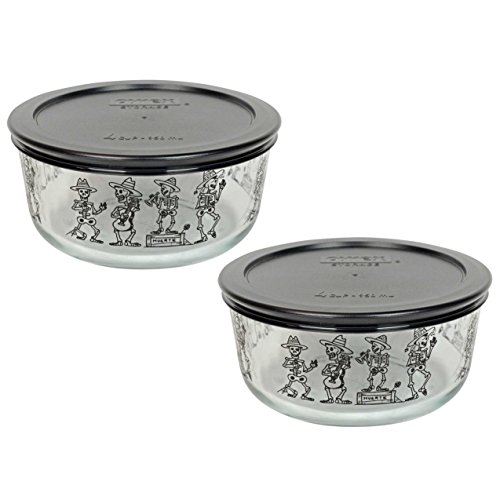 (2) Pyrex 7201 4 Cup Day of the Dead Mariachi Skeleton Glass Bowls & (2) 7201-PC Black Plastic Lids]()