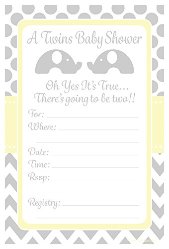 Twins Baby Shower Invitations Elephant Design Party - Fill In Style (20 Count) With Envelopes]()