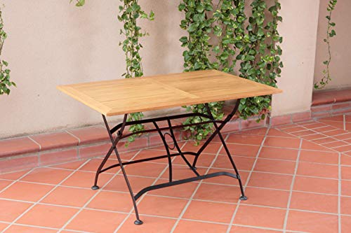 (Sunset Garden Real Teak Wood & Black Steel | Miya Rectangular Folding Outdoor Table | for Backyard Deck Patio Dining, Natural/Black)