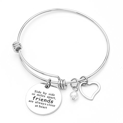 Best Friends Bracelet Side By Side Or Miles Apart Long Distance Friendship Gifts Charm Jewelry