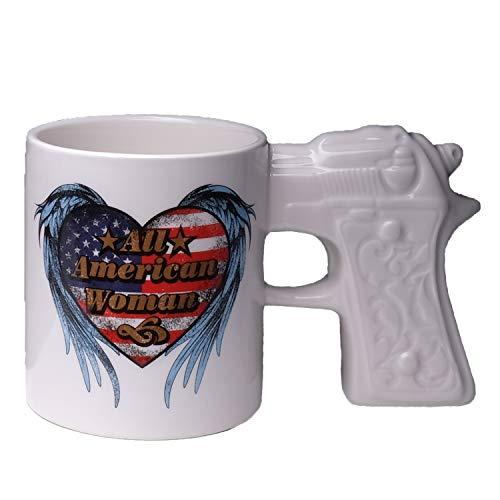Bella Haus Design American Patriotic Ceramic Mug with Gun Grip - White Coffee Mug with Heart Shaped Flag and Angel Wings for Women