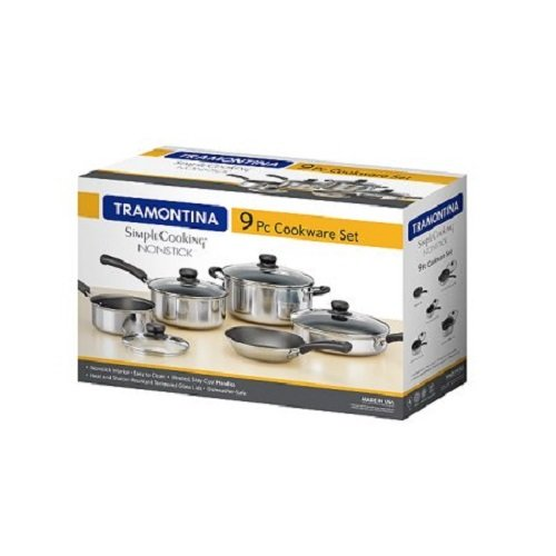 Tramontina 9 Piece Nonstick Cookware Polished