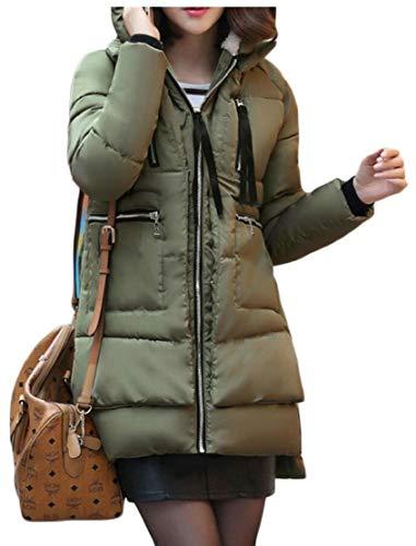 Capospalla Incappucciato Verde Delle Donne Caldo Inverno Cappotto Allentato Giù Militare Eku Informale Lungo xp8pqwrXT