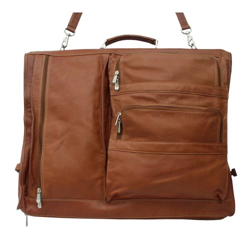 (Piel Leather Executive Expandable Garment Bag, Saddle, One Size)