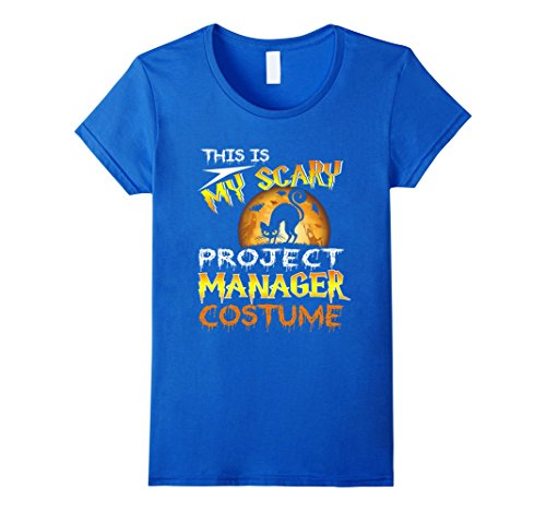 Womens Halloween Deep My Scary Project Manager Costume Shirt Small Royal (All Project M 35 Costumes)
