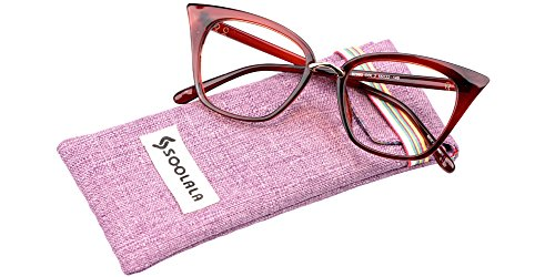 SOOLALA Womens Quality Readers Stylish Oversized Cat Eye Custom Reading Glasses, Tea, - Reading Online Quality Glasses