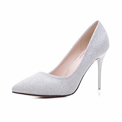 HXVU56546 Im Frühjahr Und Im Herbst Neue High Heels, Wie Wilde Einzelne Schuhe Flash Pulver Tipp Frauen Schuhe Fein Mit Glänzenden Silver