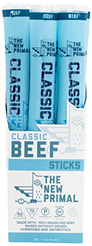 The New Primal Classic Beef Meat Stick, Paleo, Gluten & Soy Free, 100% Grass-Fed, Keto, No Added Sugar, 1oz, 20 Count ()