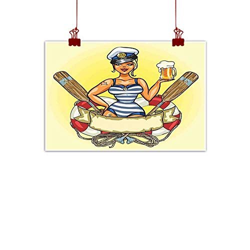 Wall Art Painting Print Girls,Pin Up Sexy Sailor Girl Lifebuoy with Captain Hat and Costume Glass of Beer Feminine,Multicolor 32