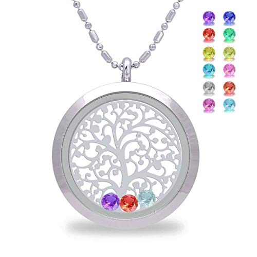 Birthstone Family Tree of Life Screw Floating Charm Living Memory Locket Pendant Necklace, Mom Birthday Gifts, Mother Gifts from Daughter, Christmas Day Gifts for mom, Friendship, Sweetheart (Smooth)