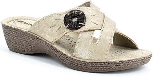 INBLU sandali, ciabatte donna ART. GL-10 zeppa sabbia LINEA BENESSERE
