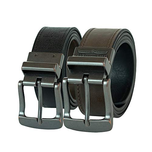 Levi's Men's 1 1/2-Inch Bridle Reversible Belt with Stitched Edging and Logo Buckle,Brown/Black,36 (Levi Leather Belt)