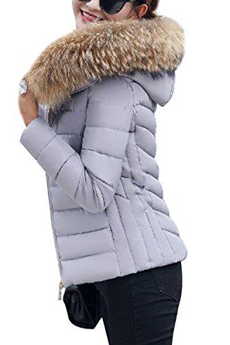 C Warm Winter Jacket Winter Jacket With Puffer Fur gray Hood Women Detachable Quilted YMING qfF7wTt7