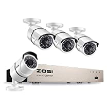 ZOSI 5MP PoE Video Security Cameras System, H.265+ 4CH 5MP Surveillance NVR and 4Pcs Wired Outdoor 5.0 Megapixel PoE Weatherproof IP Cameras, 100ft Night Vision, Power Over Ethernet, No Hard Drive
