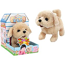 Binory Cute Dog Walking Pet Barking Dog Electric Toy Soft Gift Plush Dog for Kids Educational Toy Interesting Plush Toys(A)