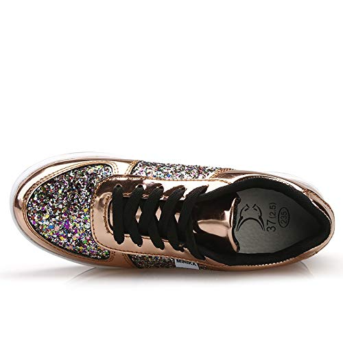 Zhrui Zeppa Oro Shoes Gliter Women colore Oro Eu Dimensione Stringate Scarpe Con 37 qwqUxgrYZ