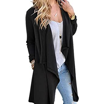 KINDOYO Women Cardigans - Natural Soft Classic Long Sleeve Irregular Open Drape Style Cardigan with Pocket,Black,UK L=Tag XL